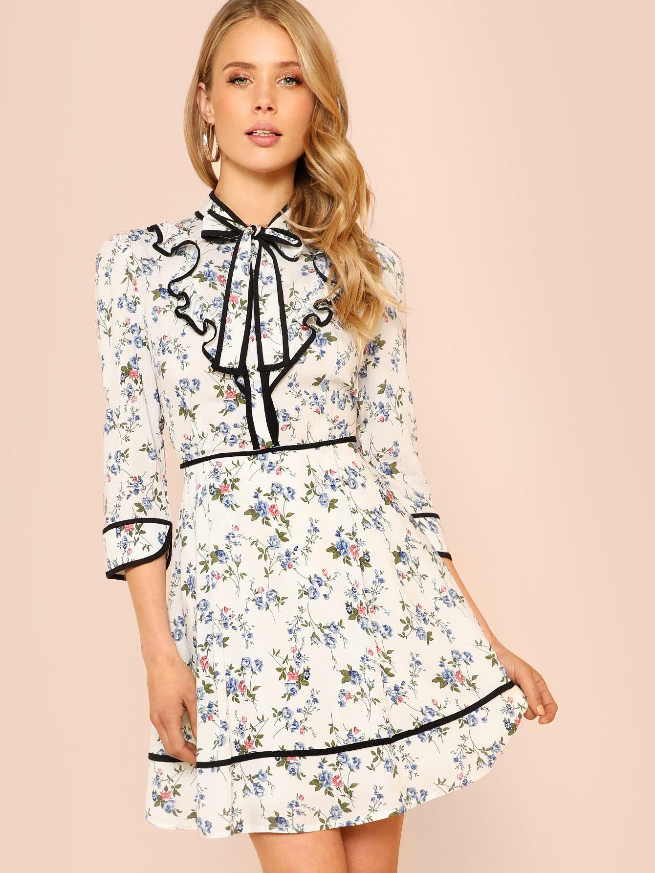 Flower print long sleeve peasant dress with ruffle collar