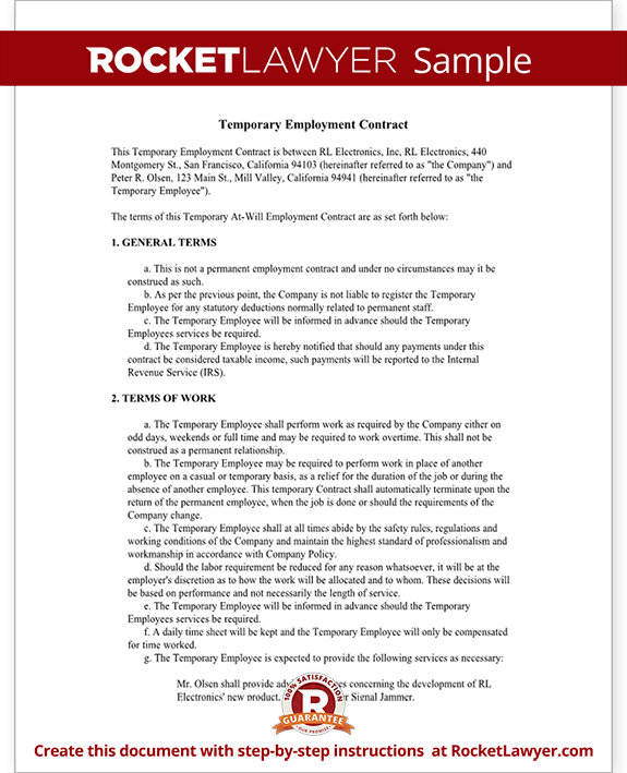 Printable Sample Employment Contract Sample Form  Attorney Legal