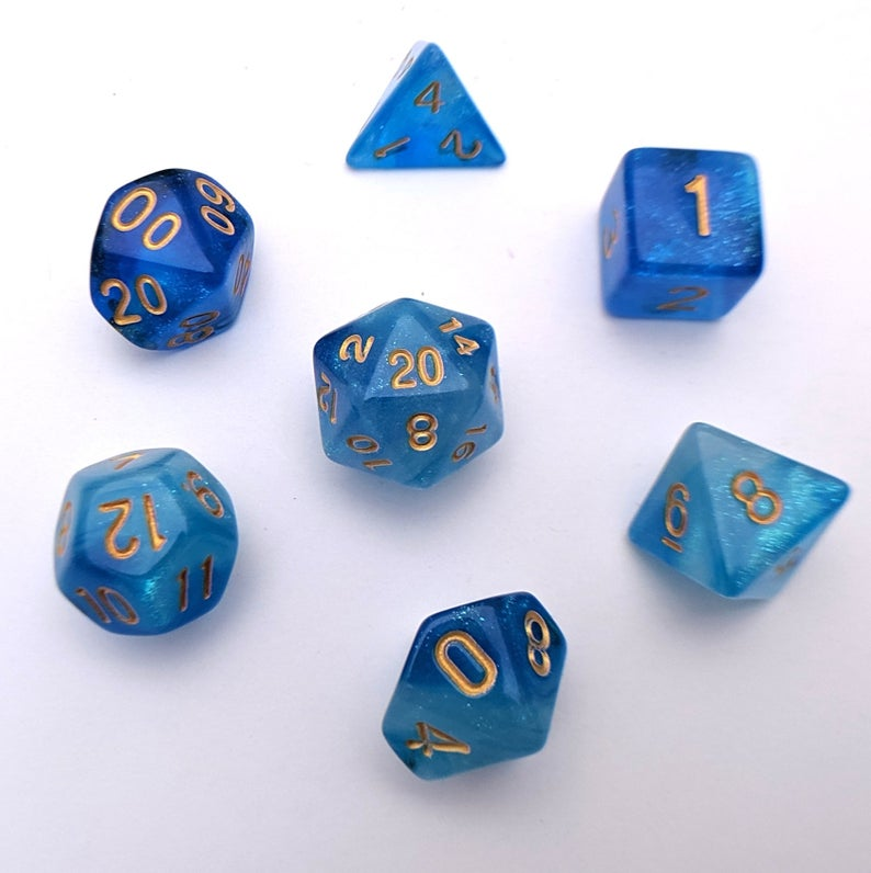 Mermaid Crown Dnd Dice Set Polyhedral Dice D D Dice Dungeons And Dragons Table Top Role Playing Dice Blue Shimmer Glitter Dice Dungeons And Dragons Mermaid Crown Crochet Cozy