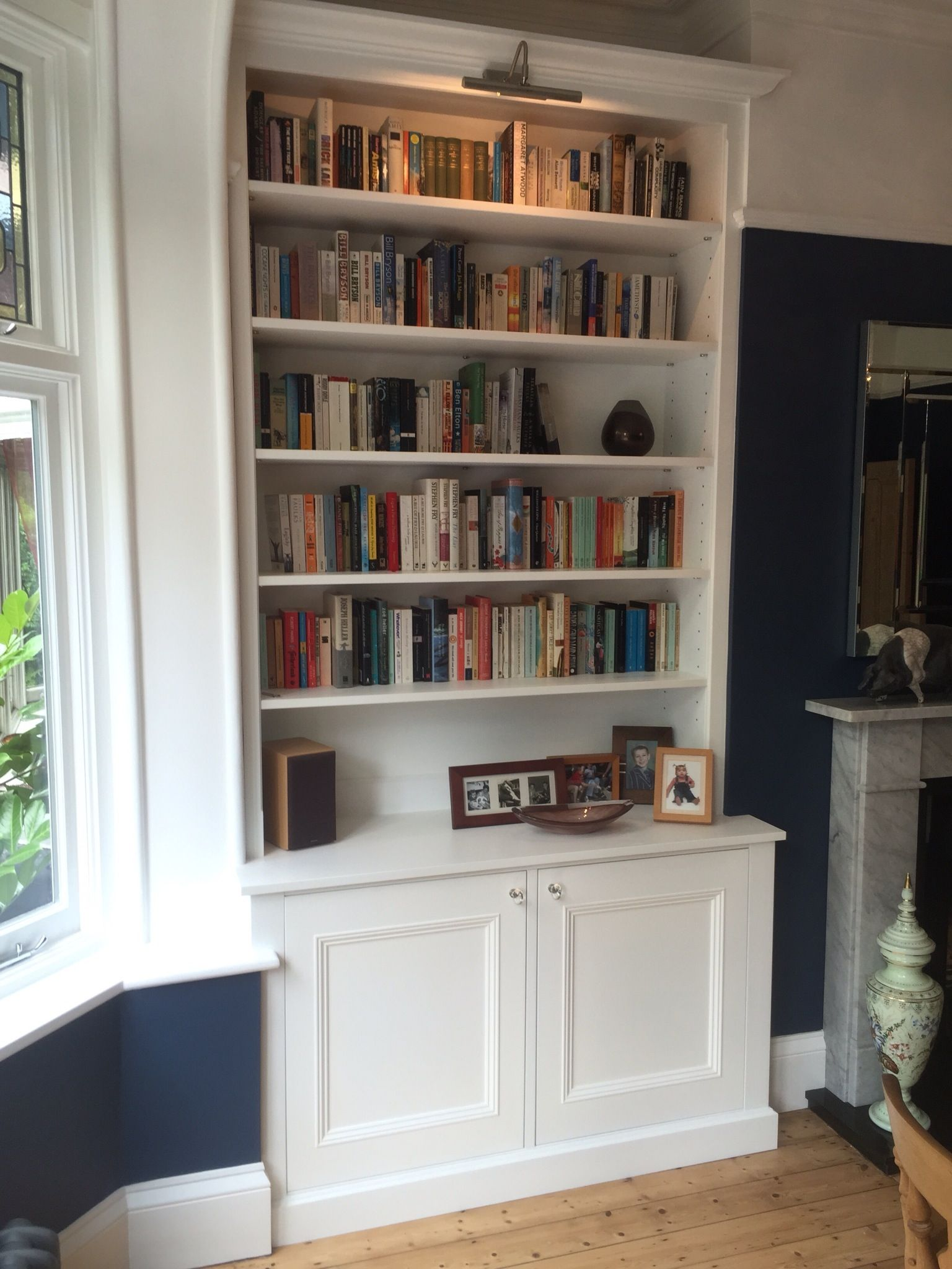 Traditional Alcove Cabinet With Adjustable Shelves Fitted With Panelled Doors And Pictu Bookshelves In Living Room Living Room Shelves Dining Room Inspiration