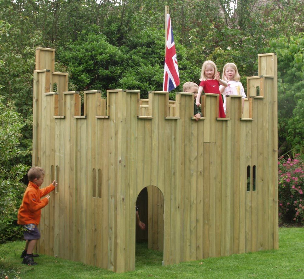 All out play castle wooden playhouse garden ideas for How to make a playhouse out of wood