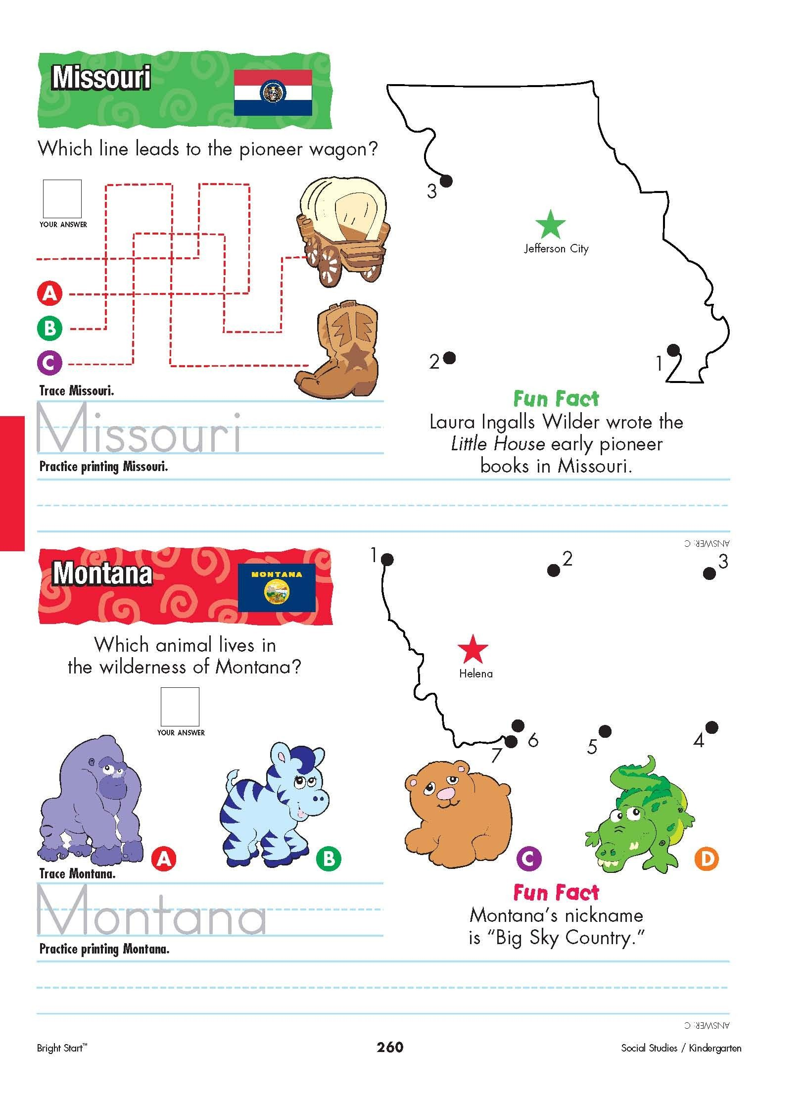 Missouri And Montana Your Kindergartener Can Practice Writing The State Name And Learn The