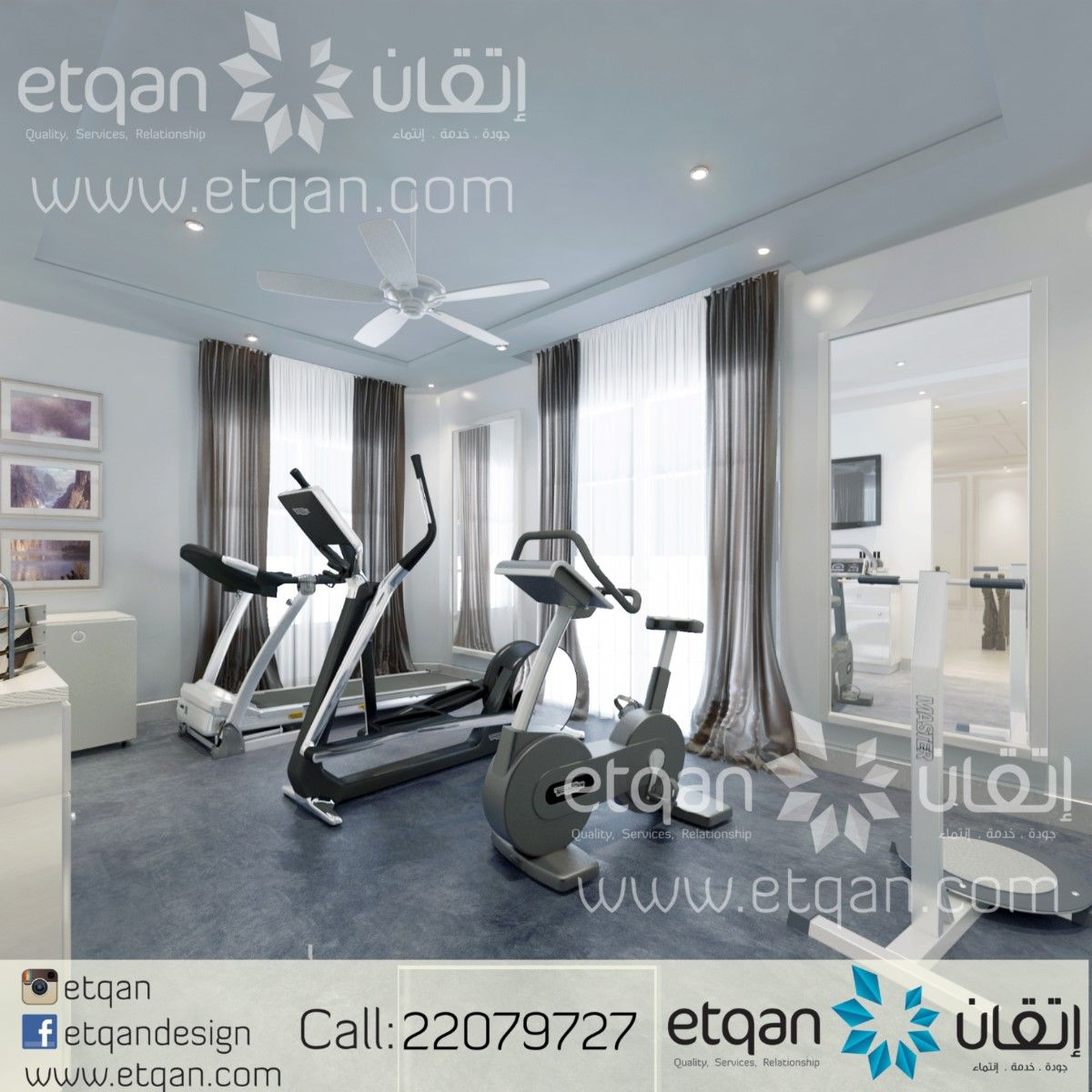 تصميم ديكورات صالة رياضية منزلية اتقان Etqan تصميم داخلي ديكور صالة رياضة حديث ديكورات Decore Gym Room Oman Muscat I Home Design Home Decor