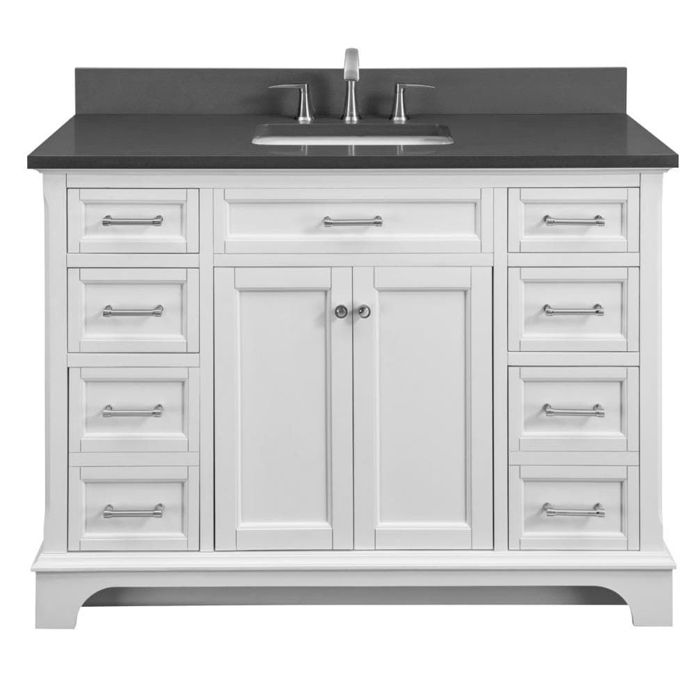 Stufurhome 40 Inch Grand Cheswick Single Sink Vanity With Marble Top White Gm 2206w 40 Cr 40 Inch Bathroom Vanity Single Sink Vanity Vanity Sink