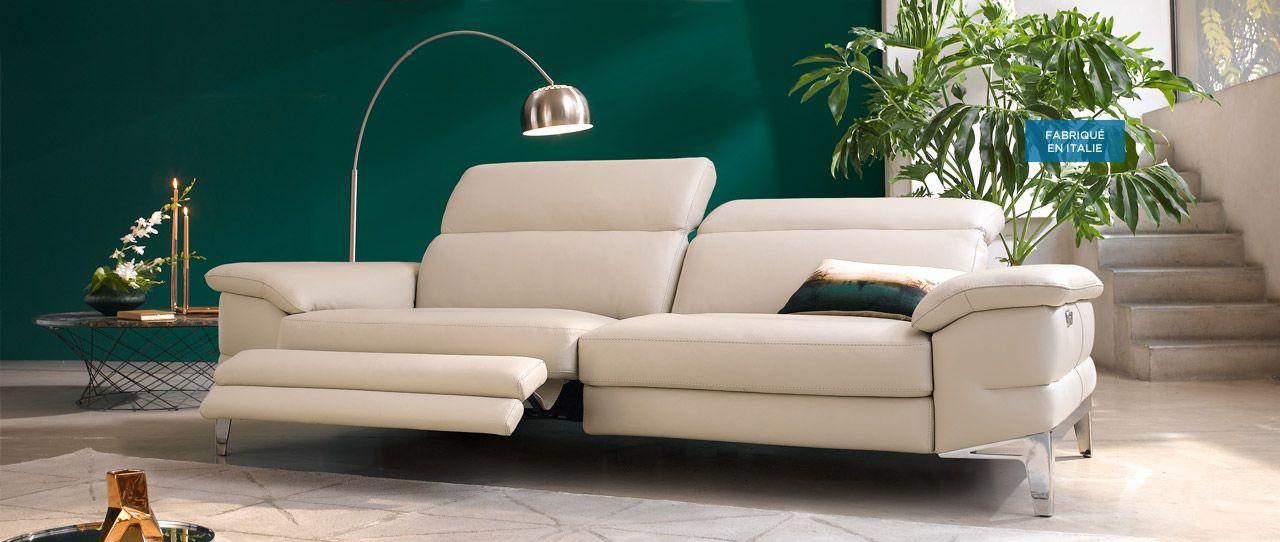 code promo c7c90 0201b Canapé relax 3 places cuir PAGODA - Cuir Center - Cuir ...