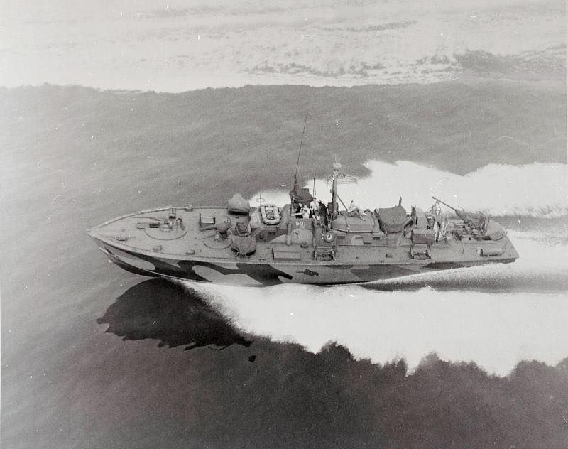 U.S. Navy PT Boat, PT-601, underway at high speed in July, 1945. PT-601 was built by the Electric Boat Company (ELCO Naval Division) in 1945. The boat was restored and is now currently privately owned.