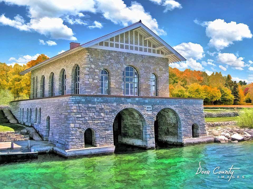 Rock Island Boathouse | The Limestone Boathouse On Rock Island, WI Was Once  A Part