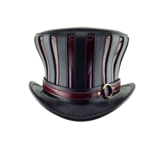 507522e2662d Mad Hatter Hat striped leather top hat in black and red - steampunk ...