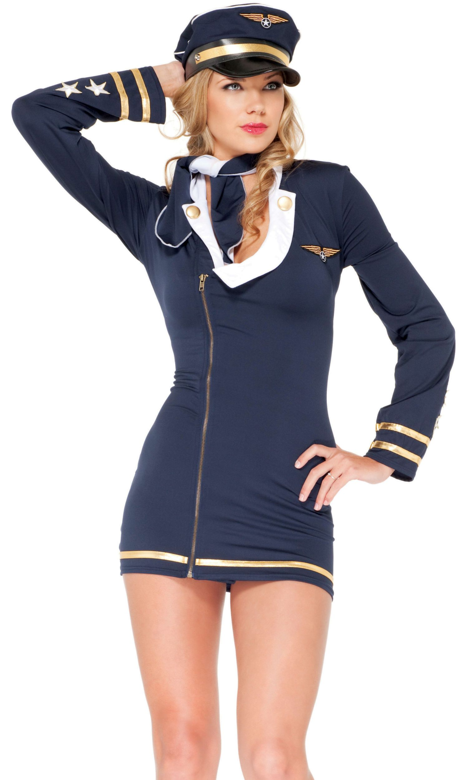 Charades Horny Mile Excessive Captain Lady Airplane Pilot Costume Medium M Fly Me Blk