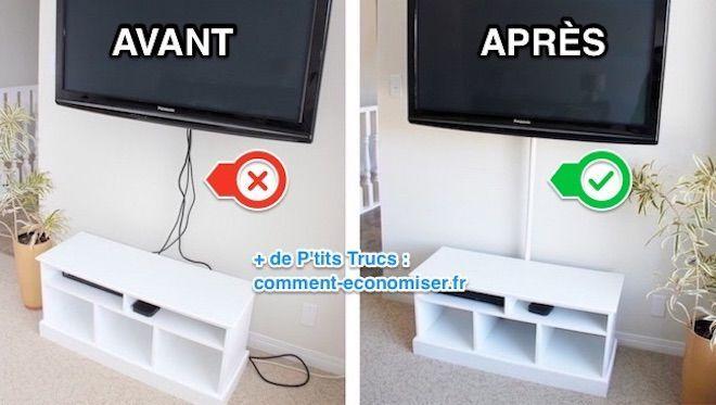 Comment Cacher Les Cables De La Tele En 5 Min Chrono Meuble Cache Tv Cache Cable Et Trucs Et Astuces Maison
