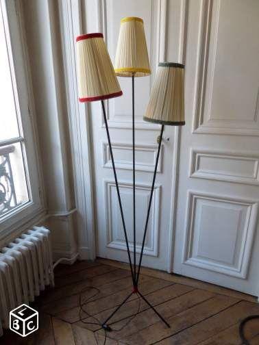 Lampadaire Ancien Vintage Annees 50 Tripode 3 Feux Lampadaire