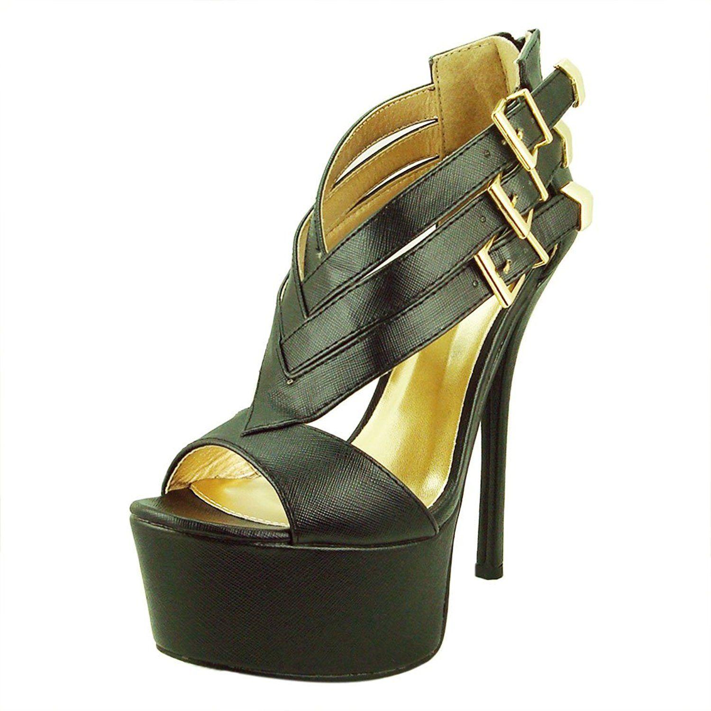 Women's Pinch21 Leatherette Strappy Open Toe Heel Sandal