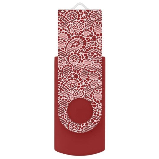 White Lace Lacy-Look Design Flash Drive