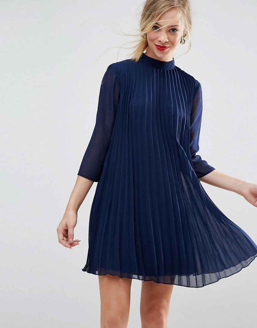 Asos pleated trapeze mini dress blue products pinterest products