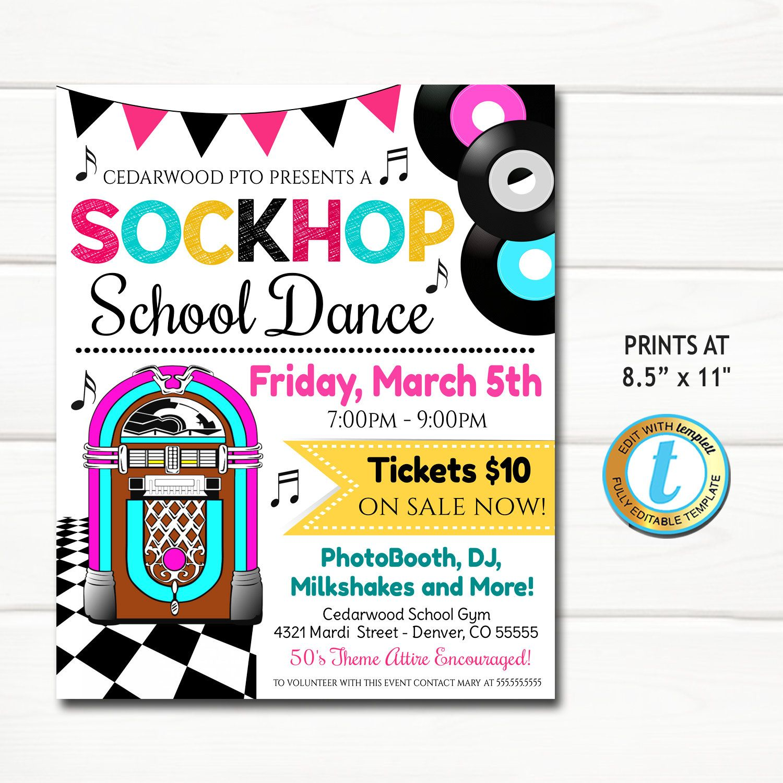 Sock Hop School Dance Flyer, 50's Theme School Dance