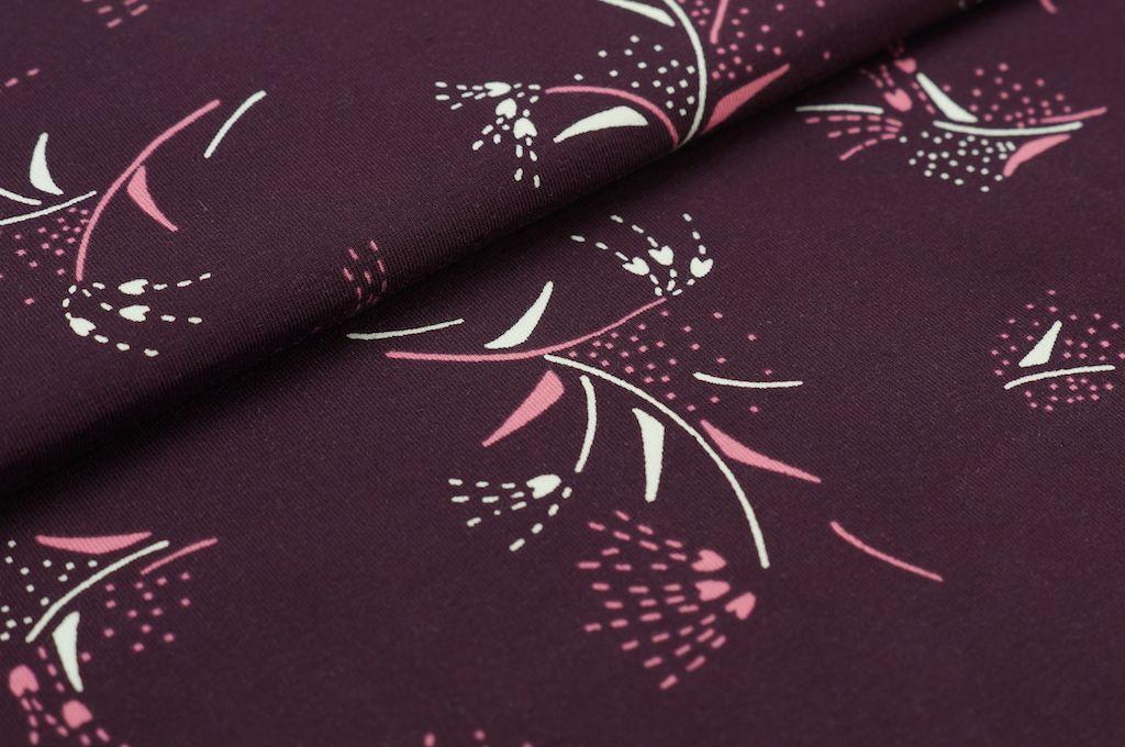 Jersey Blumen Zweige weiss rosa aubergine | Neu im Shop | Traumbeere
