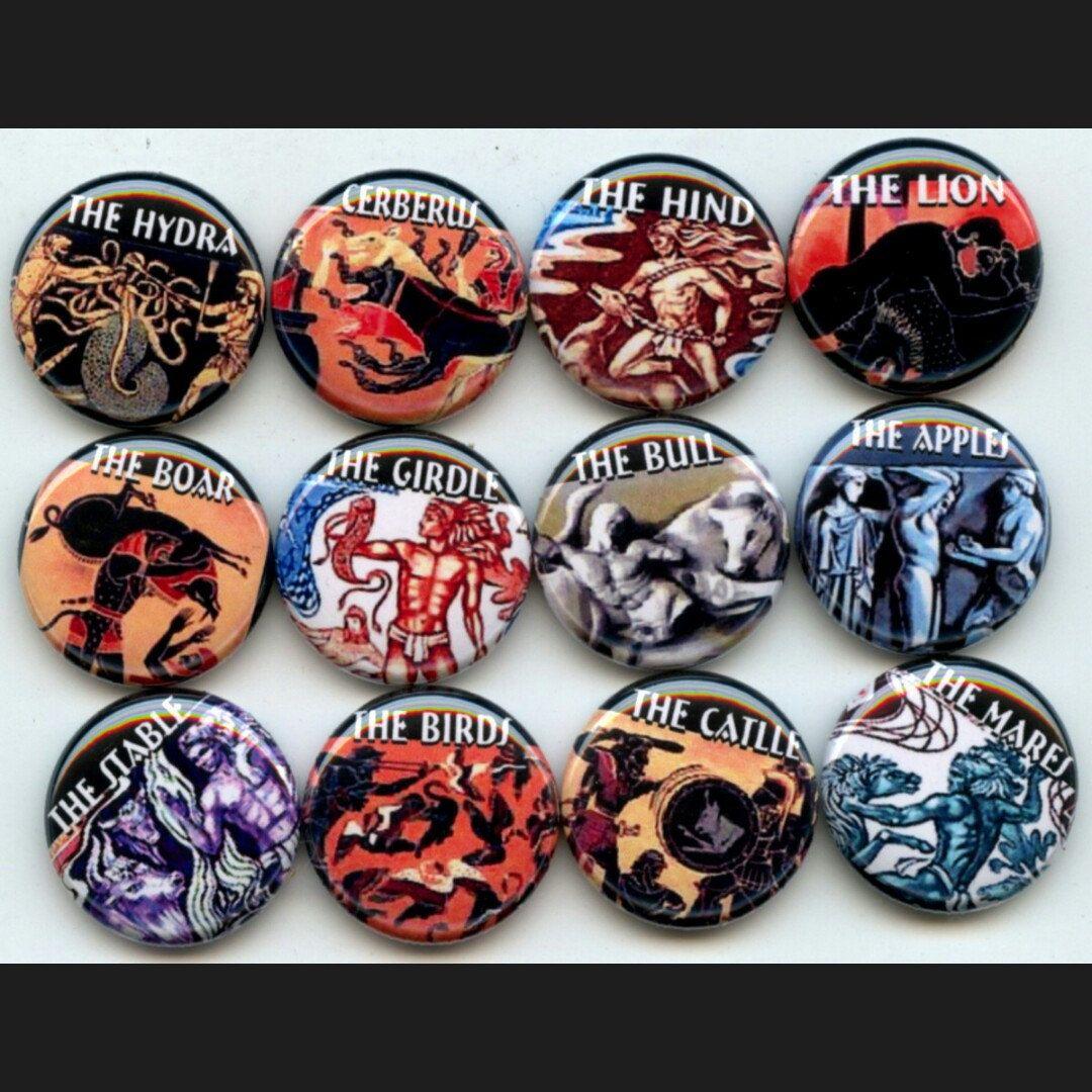 Hercules Twelve 12 Labors Greek Mythology Pinback Button