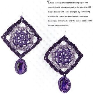 How to crochet granny square earrings from The Granny Square Book by Margaret Hubert