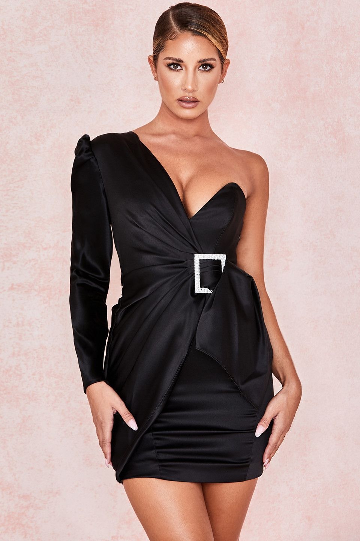 New womens ladies one shoulder midi long sleeve glam party celeb bodycon dress