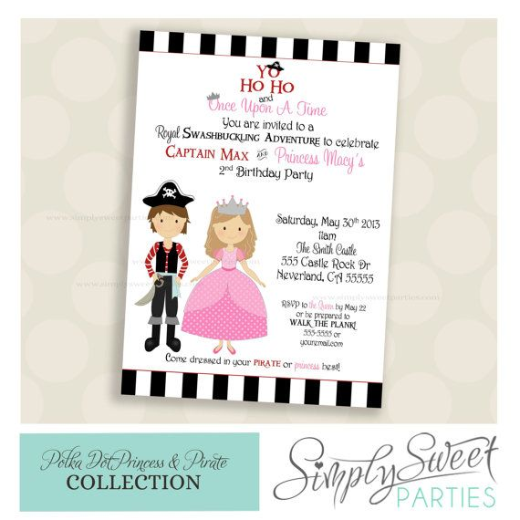 PRINTABLE INVITATION. Princess and Pirate by SimplySweetParties, $12.00