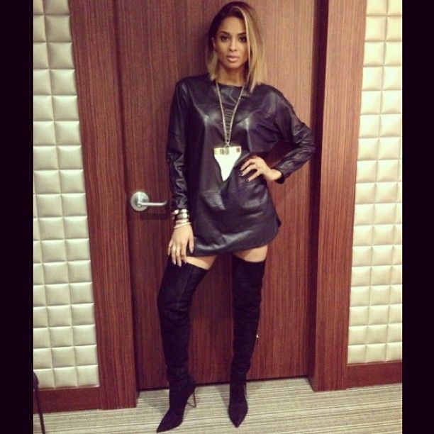 ciara-black-leather-dress-over-the-knee-suede-boots | Celebrity ...