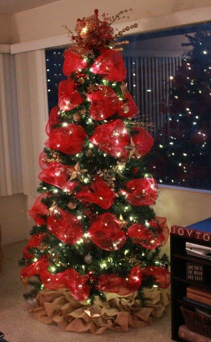 decorative mesh on christmas tree - Google Search | christmas ...
