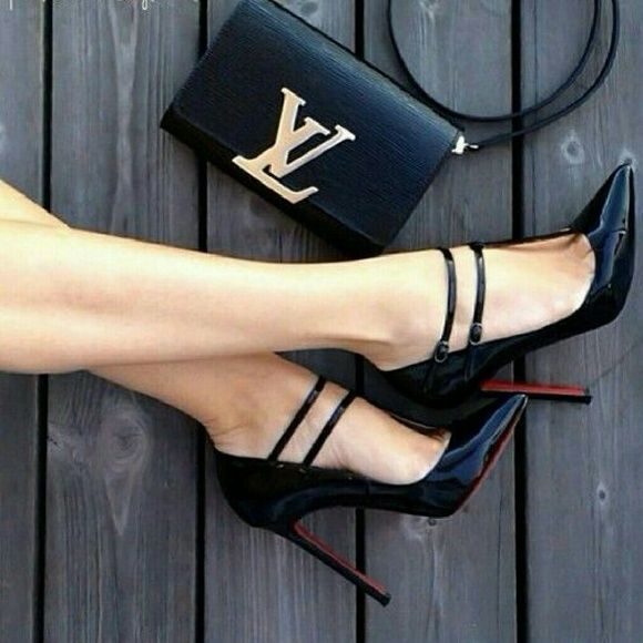 d38de1ed6af HOLD Christian Louboutin patent leather heel 120mm Beautiful barely worn  (indoors only). Double strap heel Actually comfortable for a 120mm heel.
