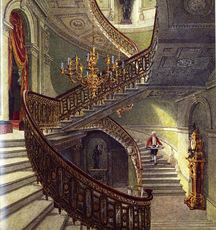 Interior de la gran escalera de Carlton House | Casa Carlton, gran escalera, Jane austen