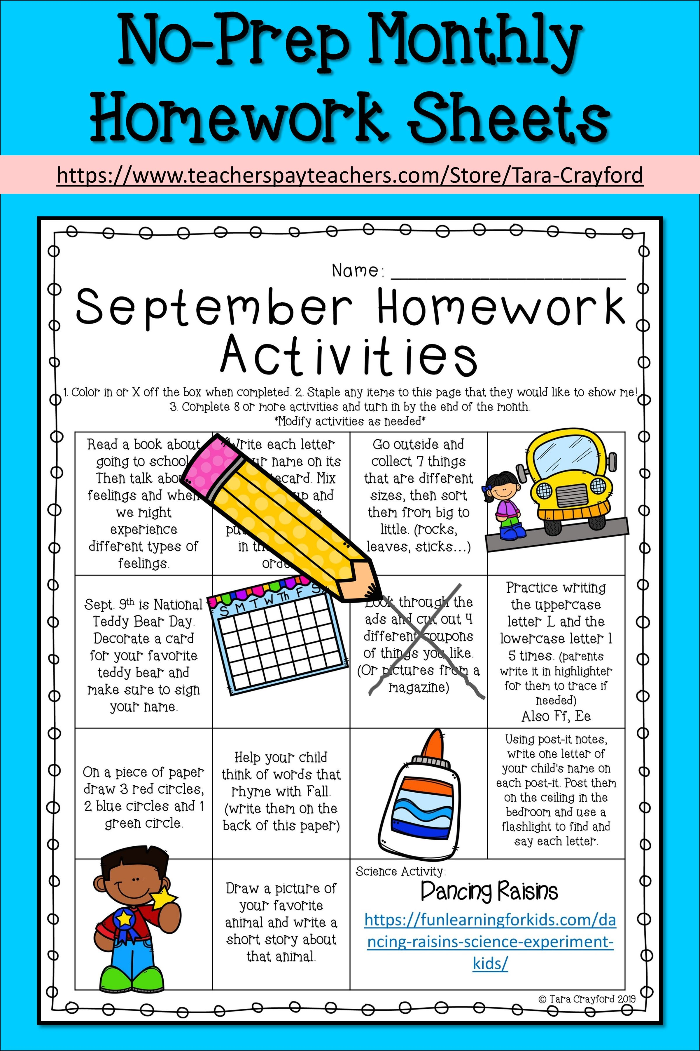 Pre K Monthly Homework Activity Sheets
