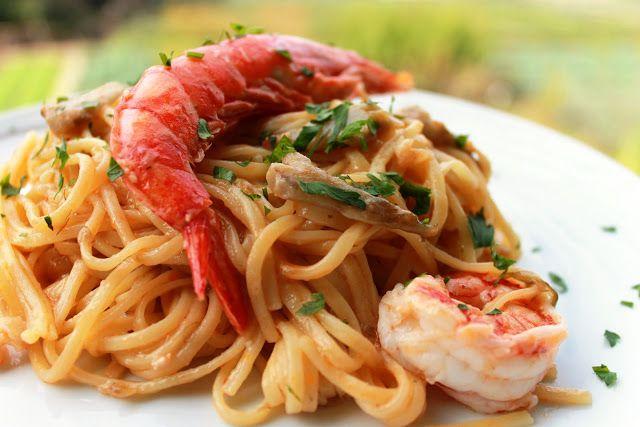 Spaghettoni gamberi e carciofi