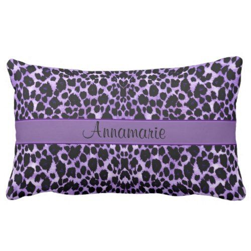 Purple Leopard Personalized Lumbar Pillow