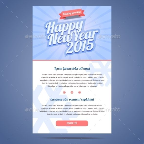 Happy New Year Holiday Greeting Email Template  Flat Style