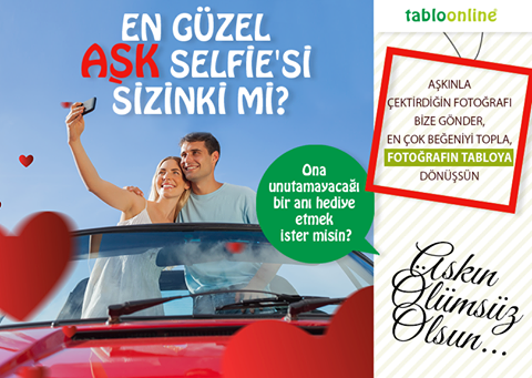 Sevgililer gününde ona unutamayacağı bir hediye vermek ister misin?  Facebook sayfamızdaki Aşk Selfie'si uygulamasına, aşkıyla çektirdiği selfie fotoğrafı yükleyip en çok beğeni toplayan çiftimizin fotoğrafını, tabloya dönüştürüp hediye ediyoruz. Acele edin, beğenileri toplayın!  Katılmak için tıklayın! http://bit.ly/194owJ2