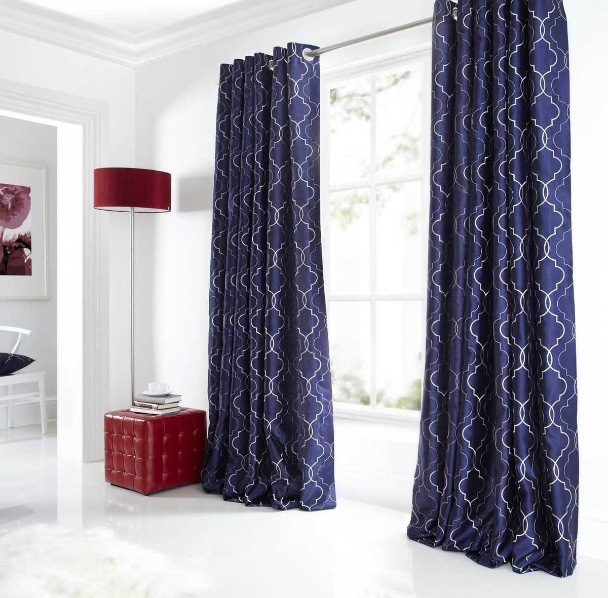 Midtown Eyelet Lined Curtains Blue | Luxury Ringtop Curtains | UK ...
