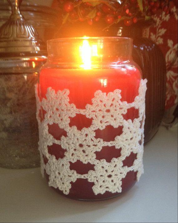 Idea for crochet over a jar candle