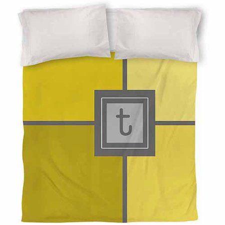Thumbprintz Grid Monogram Yellow Duvet Cover