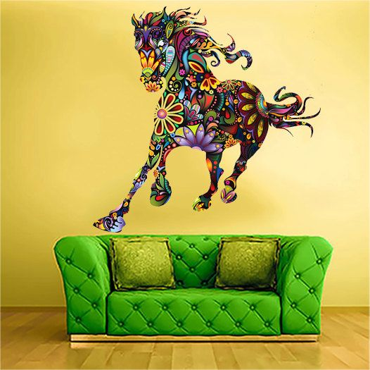 Horse Multi Color Floral Flower multicolor  Vinyl by uBerDecals, $27.97