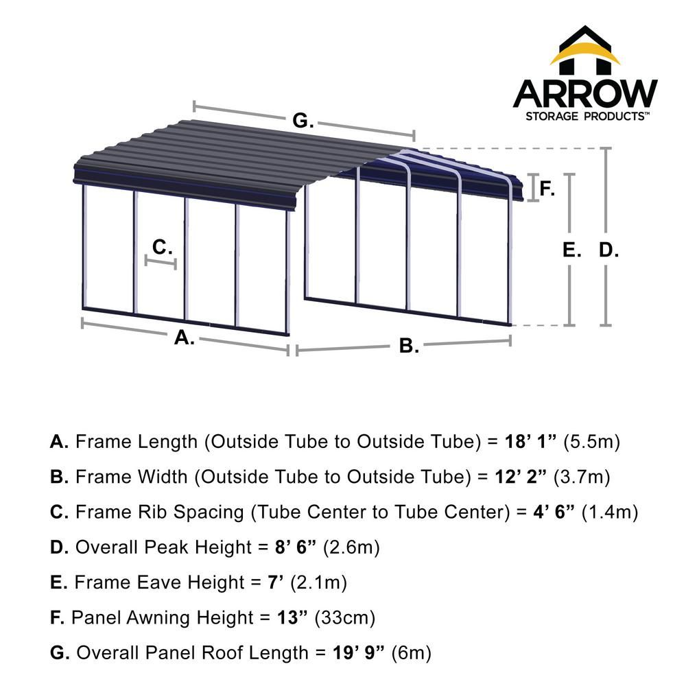 Arrow 12 Ft W X 20 Ft D Eggshell Galvanized Steel Carport Car Canopy And Shelter Cph122007 The Home Depot In 2020 Steel Carports Car Canopy Carport