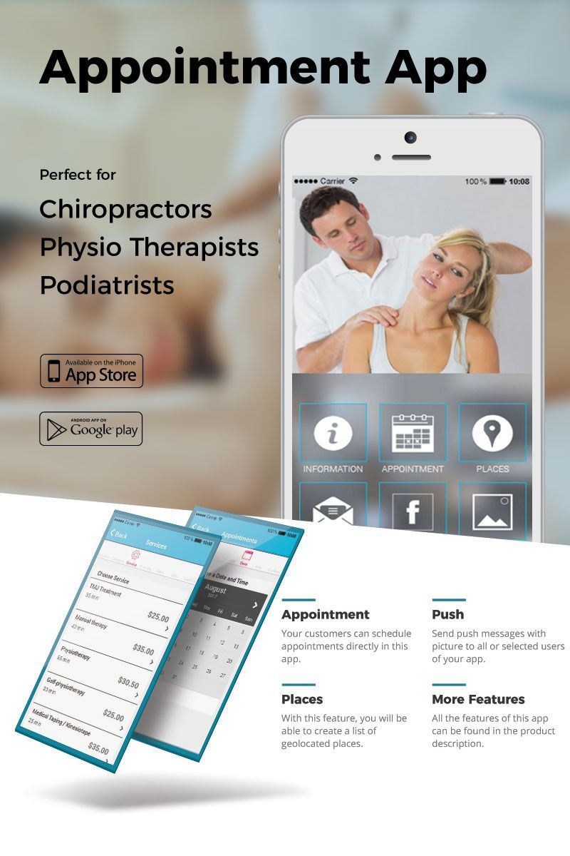 Physio Therapy Appointment App Template Push messages