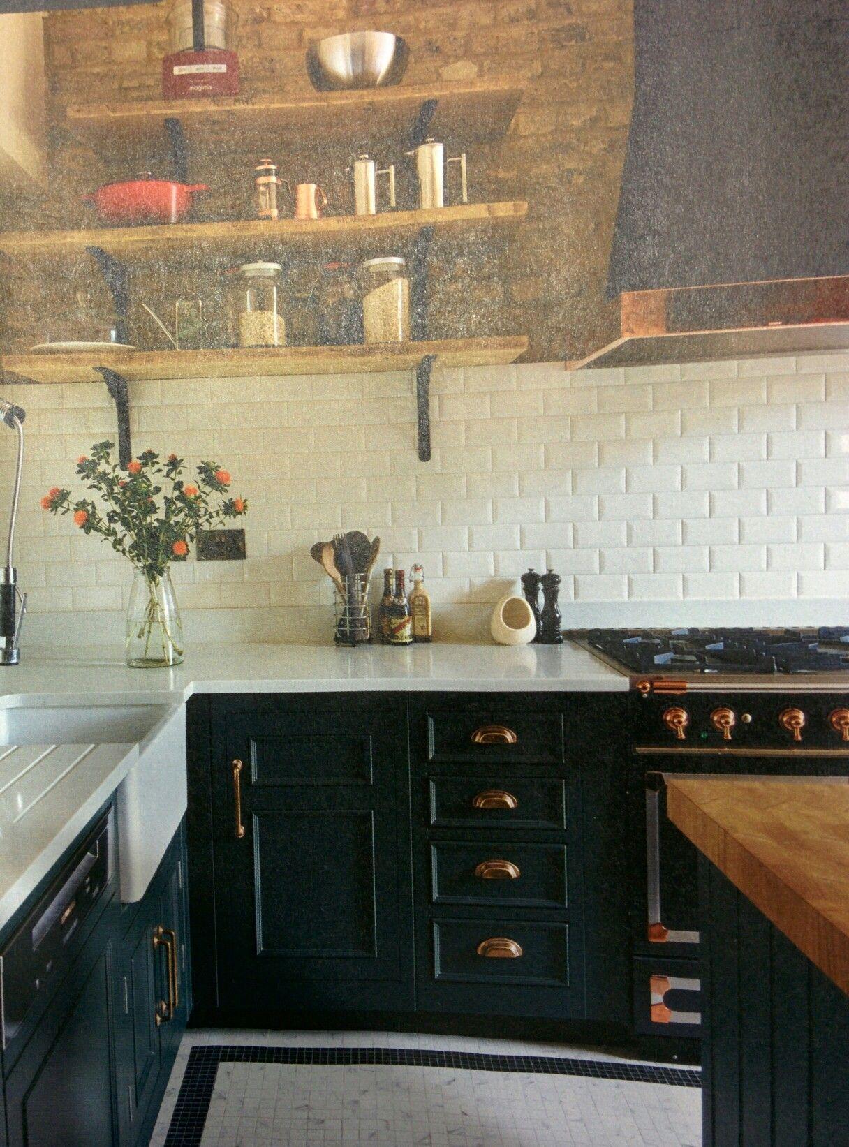 Harvey Jones Kitchen With Copper Handles And Dark Blue Cupboards Kitchen Decor Inspiration Copper Kitchen Kitchen