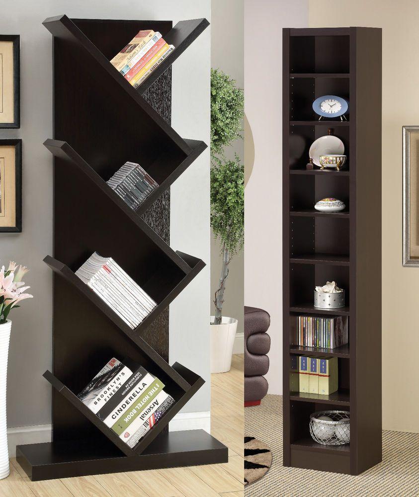 Contemporary Cappuccino Finish Storage Display Shelf Bookcase Bookshelf #Coaster #Contemporary