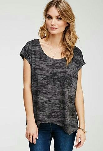 Contemporary abstract asymmetrical hem top