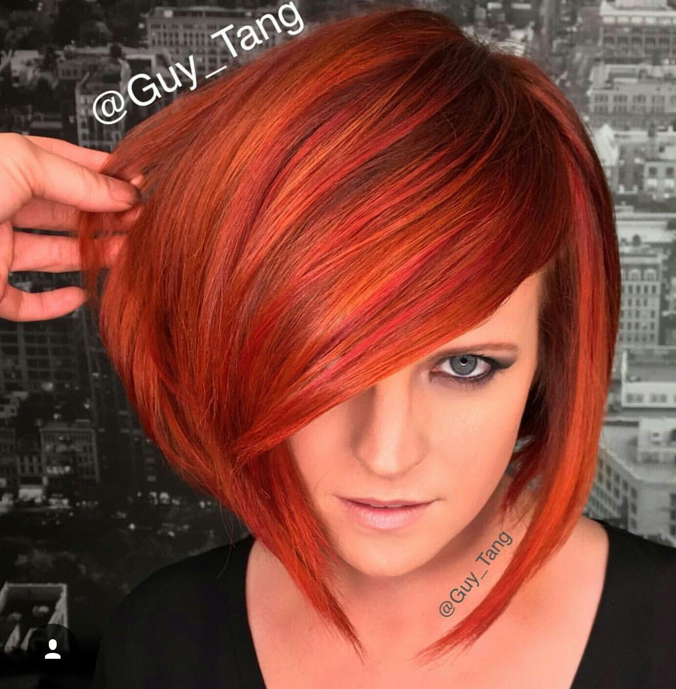 Colorful short bob hairstyle, very pretty colors!  Short hair