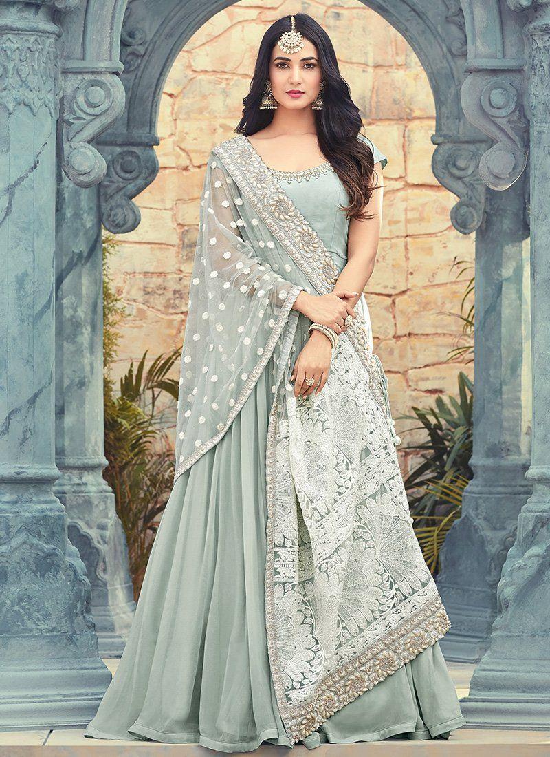 Light Blue and White Embroidered Georgette Anarkali Suit – Lashkaraa ... e1f5b09b8