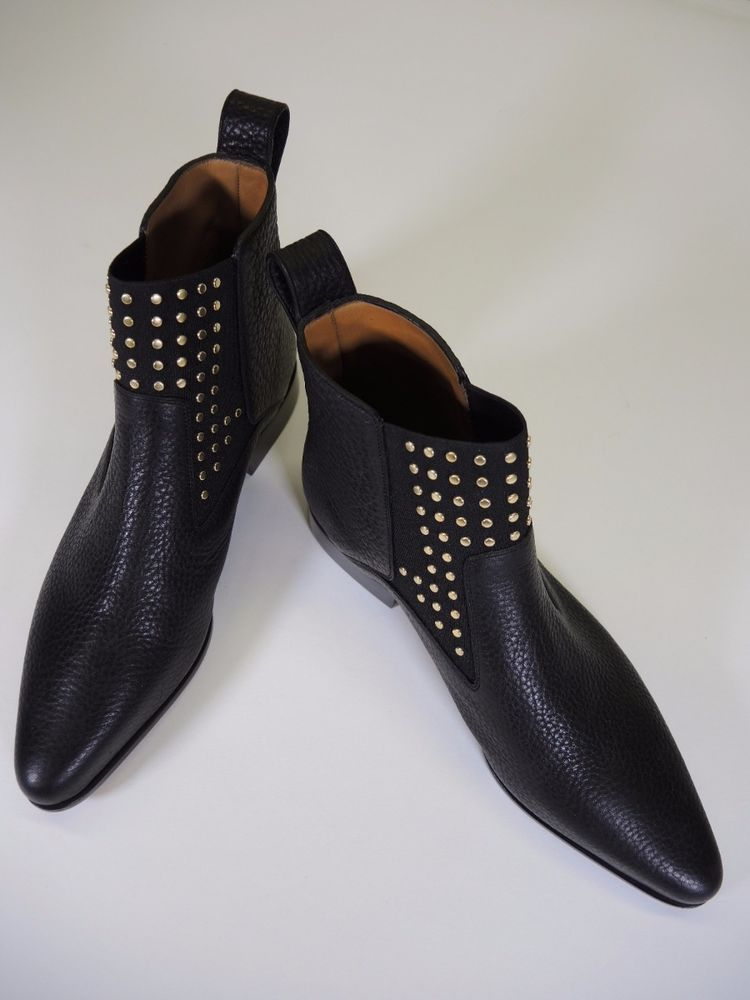 CHLOE Black Pebbled Leather 'Studded Drew' Ankle Boots Booties sz 40 / 10 #Chloe #AnkleBoots #WeartoWork
