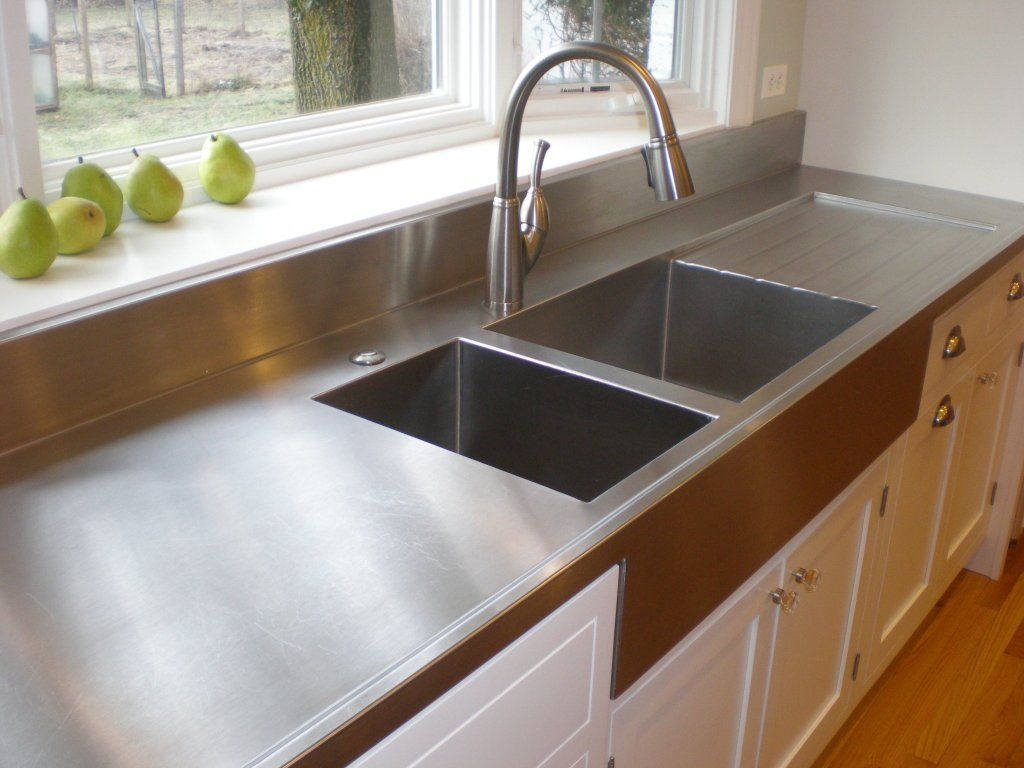 stainless steel countertop with integrated apron sink and drainboard - Stainless Steel Apron Sink