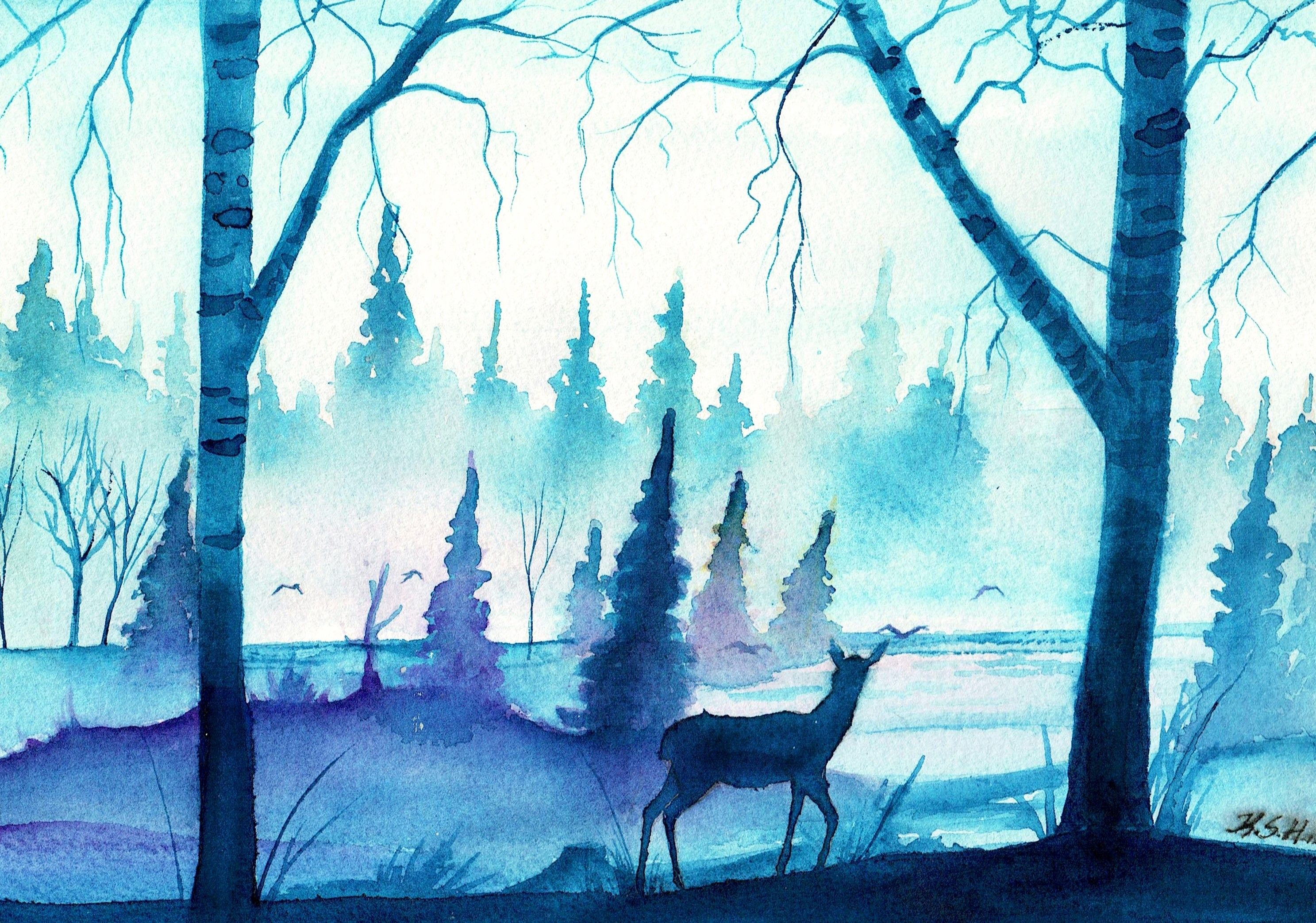 general 2974x2085 watercolor deer blue forest mist watercolor art diy watercolor deer painting watercolor deer blue forest mist