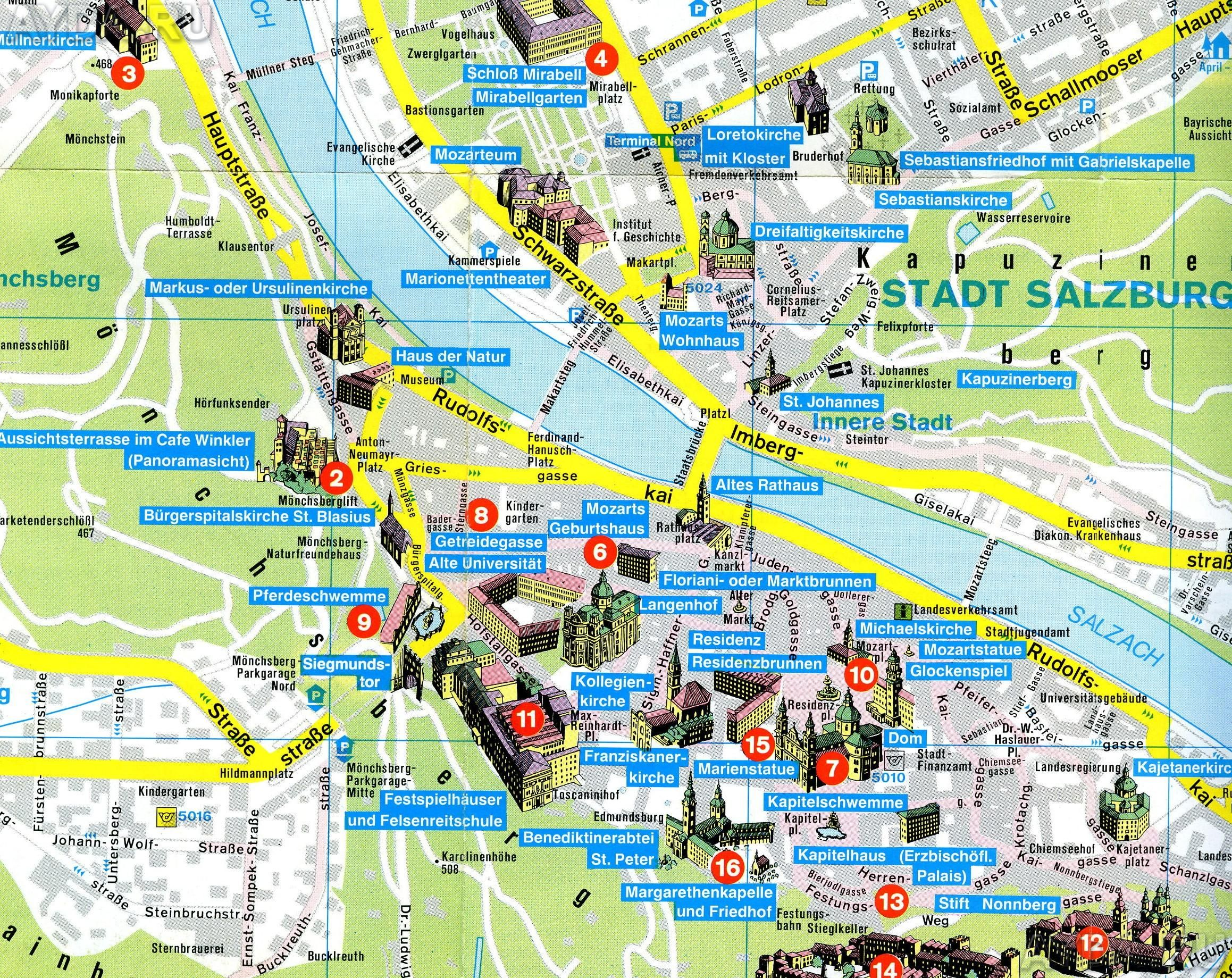 Mapa Salzburgu Mapa Turistico Guia Turistico Salzburgo