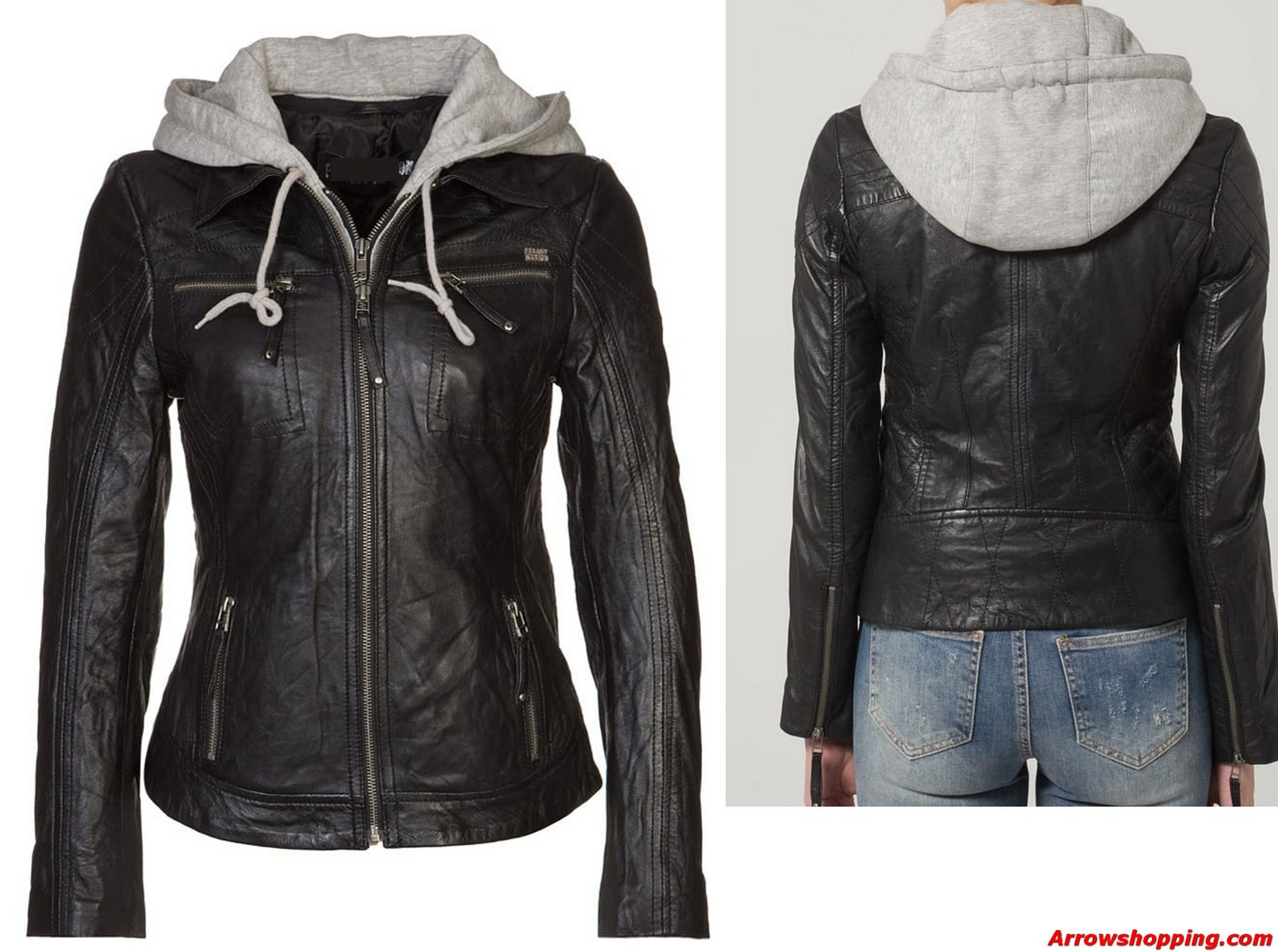 Arrow Women Black Hooded Leather Jacket 787979ecvg