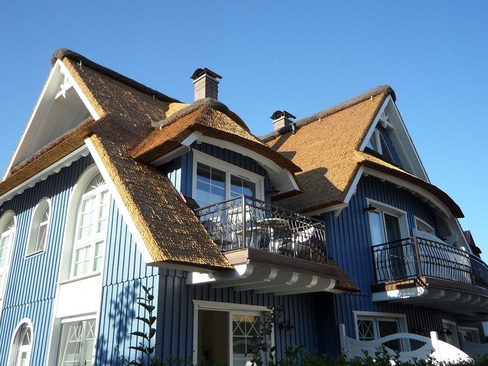 Accueil, Balcon, Fenêtre, Reed, Toit, Bleu